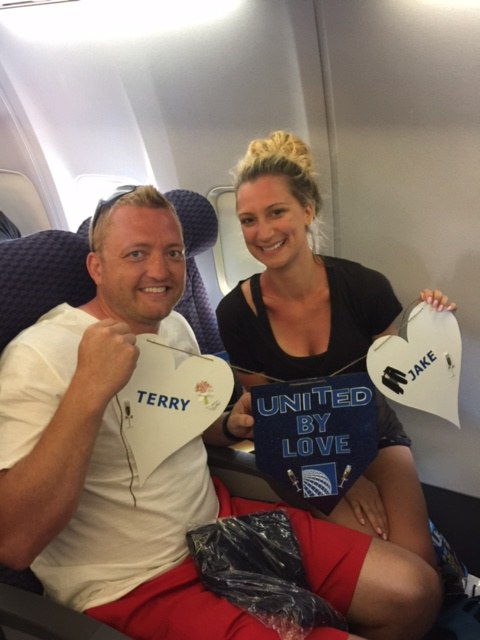 Newlyweds Jake and Terry fly to their honeymoon on United