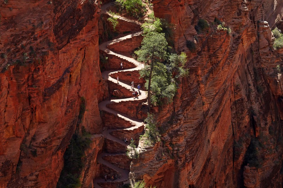 Angels Landing hiking trail in Zion National Park, Utah.