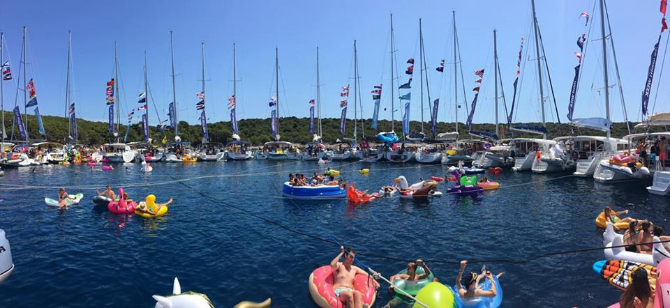 "Yacht Week boats tied up in a circle, famously known as ""the circle raft"""