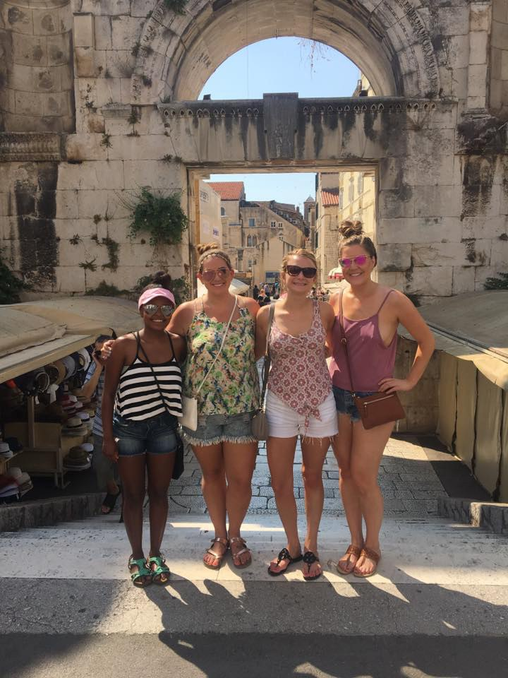 United employee, Kristin Komar and her three friends in Croatia.