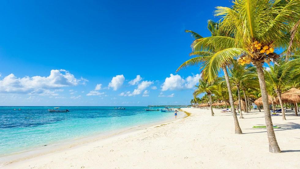 White sand beach in Cancun, Mexico