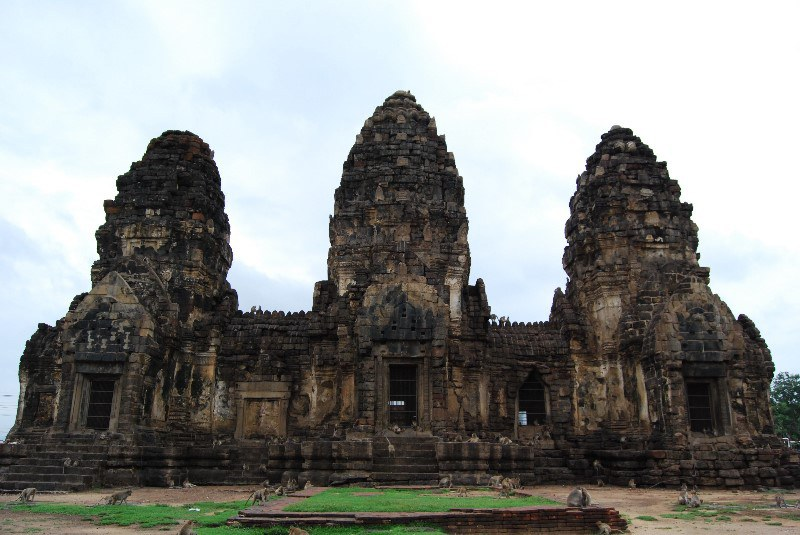 Phra Prang Sam Yot, a monkey temple that is located in Lopburi