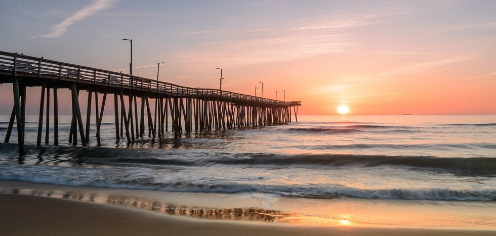 Sunset off 14th Street Pier in Virginia Beach