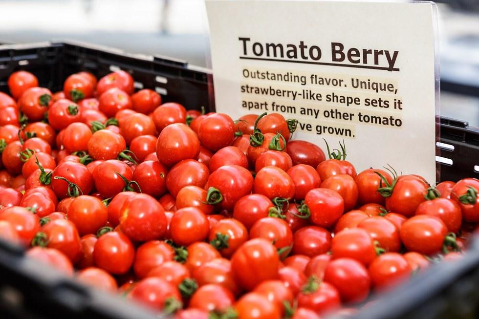 tomatoes at a market.