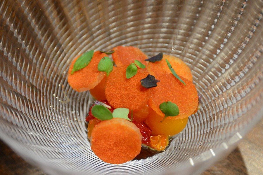 Atelier Crenn's tomato and melon salad