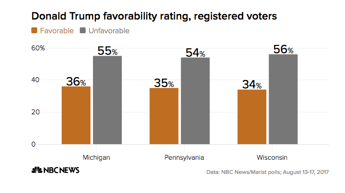 Trump's favorability rating falls in three key states he won in 2016