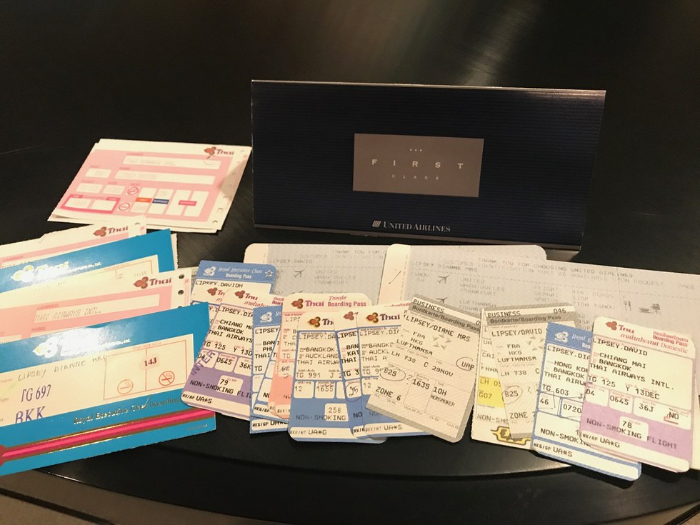 Some of the boarding passes the Lipseys used on their journey