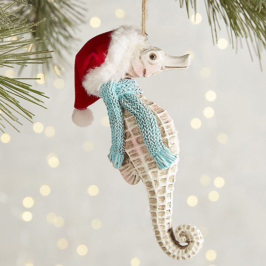 and heres a seahorse wonder if hes got any presents in his pouch - Seahorse Christmas Ornament