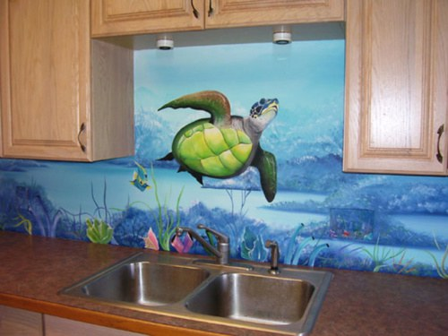 7 home ocean murals that take ocean obsession to a whole new level azula for the love of oceans for Michal turtle music from the living room