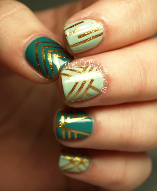 Nailed it fun and easy nail art while these nails may look difficult they are actually very simple using the thin nail design tape cut strips of varying lengths and place them on your prinsesfo Images