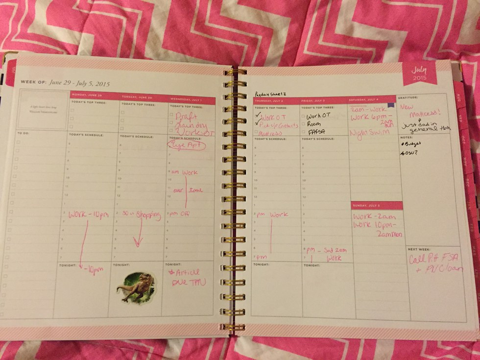 how i use my daily planner in college