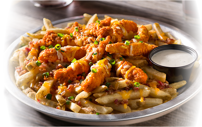 ZINGERS® Piled Over Crispy Fries, Smothered With Melted Monterey Jack And  Cheddar Cheese, Bacon Bits And Green Onions, With Youu0027re A Side Of Ranch  Dressing ...