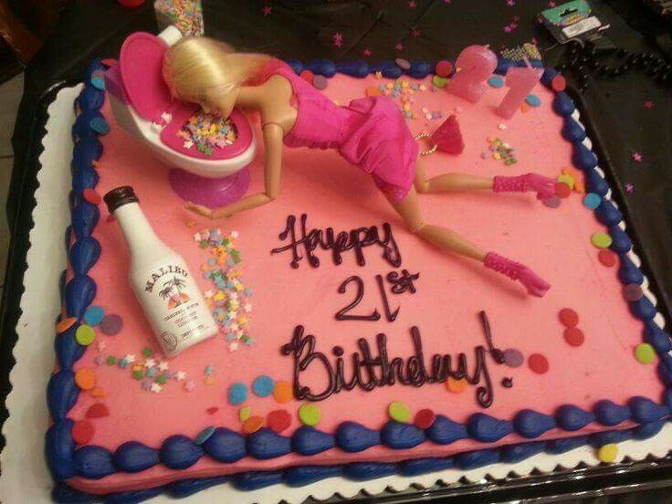 Puking Barbie Birthday Cake