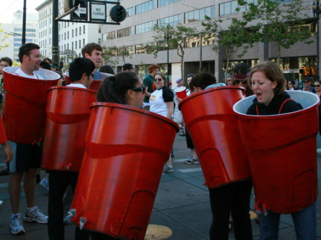 take your solo cup costume to a whole new level by making life size solo cups into a game of beer pong