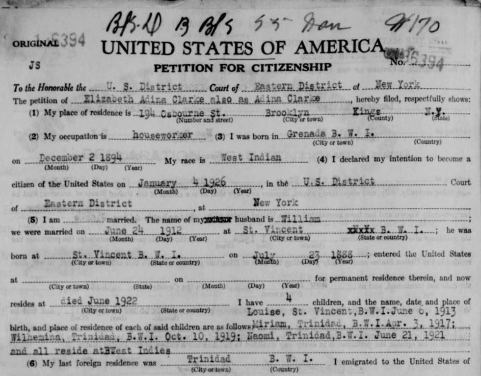 Noel Clarke's great grandmother's naturalisation petition