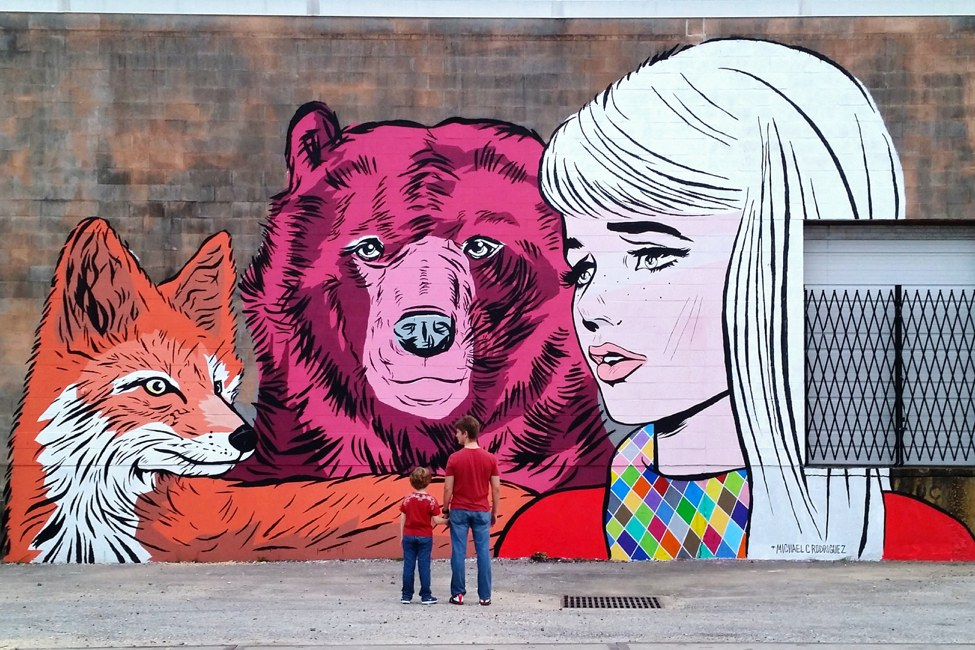 Lady Fox And Bear Mural By Michael Rodriguez
