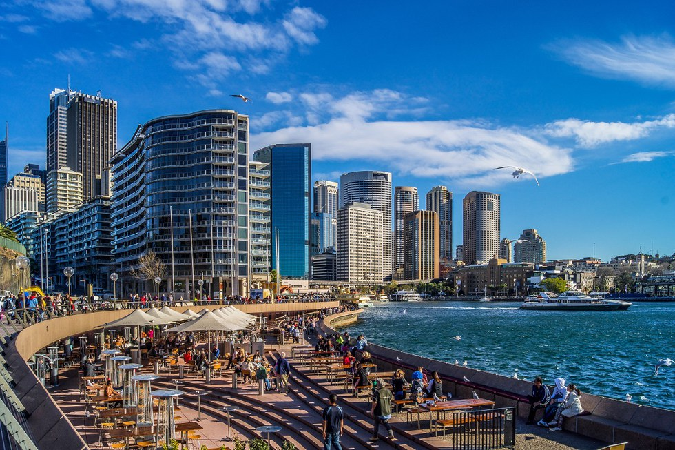 Restaurants along Sydney Harbour in Australia