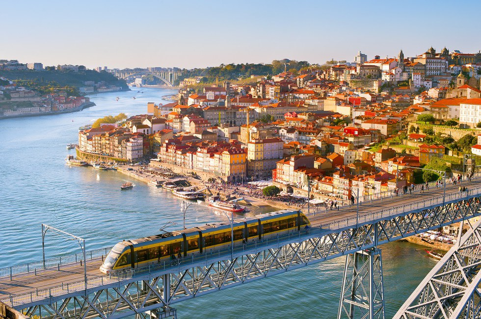 Overview of Porto, Portugal at sunset