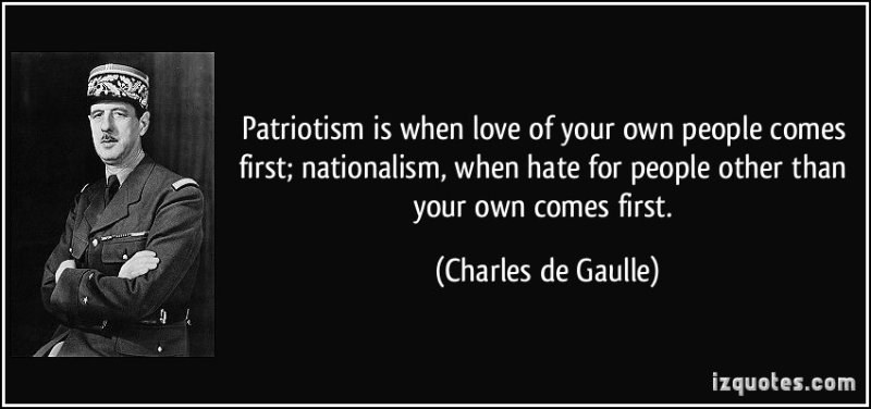 love and patriotism Patriotism is the zealous love for one's country it's like a disease that every man carries it spreads from one soul to the next like an unstoppable wildfire.
