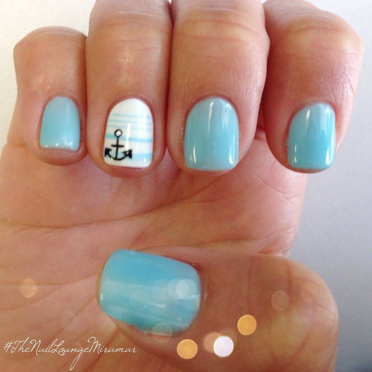 6 perfect gel nail designs for summer 2017 i love this design because anchors are simple and classic using a light blue thats slightly brighter than the one pictured like opis breakfast at prinsesfo Images