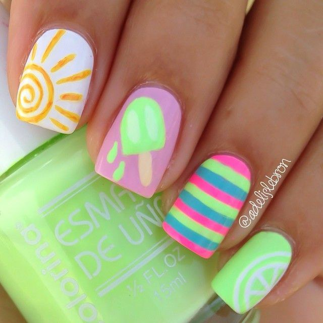 6 perfect gel nail designs for summer 2017 what better way to sport your new tan than to showcase a sun on your nails if the lime green in this design is a little too funky for you prinsesfo Gallery
