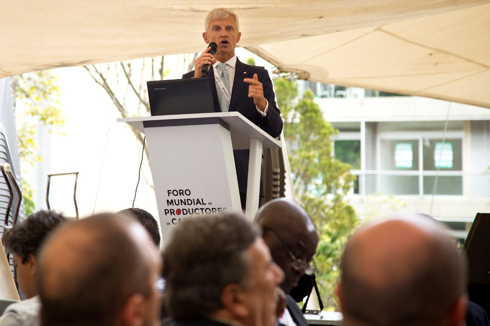 illycaff\u00e8 CEO Andrea Illy speaking at the World Coffee Producers Forum