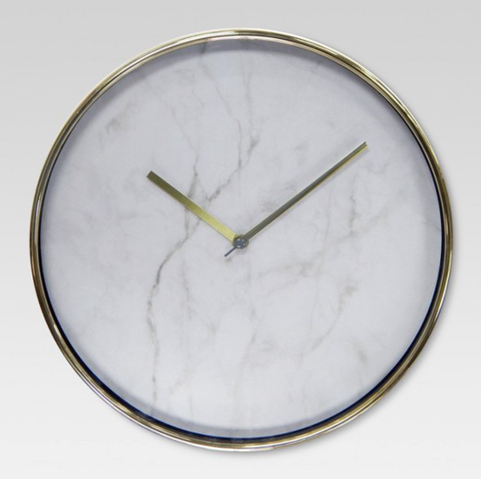 24 pinterest perfect dorm decors to grab on your next target trip 1 10 wall clock marble with brass 10 dailygadgetfo Images