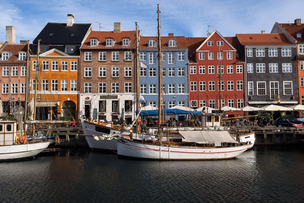Colorful houses at the canals of Nyhavn in Copenhagen
