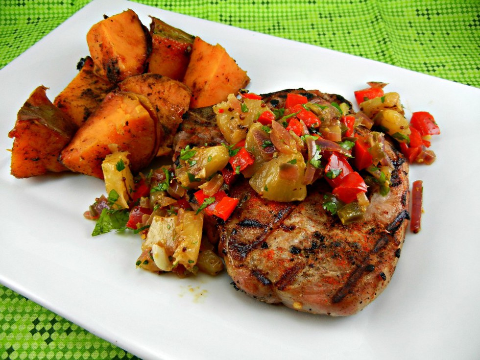 Grilled Spicy Pork Chops With Pineapple Relish Sweet Potatoes My