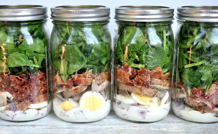 Spinach And Bacon Salad In A Jar | Healthy Salad In A Jar Recipes