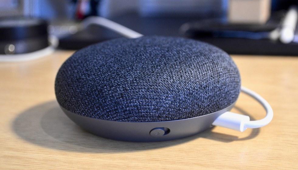 Picture of Google Home Mini on desktop.