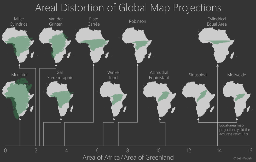 Your map may be racist below is an infographic on the areal distortion of various global map projections gumiabroncs Image collections