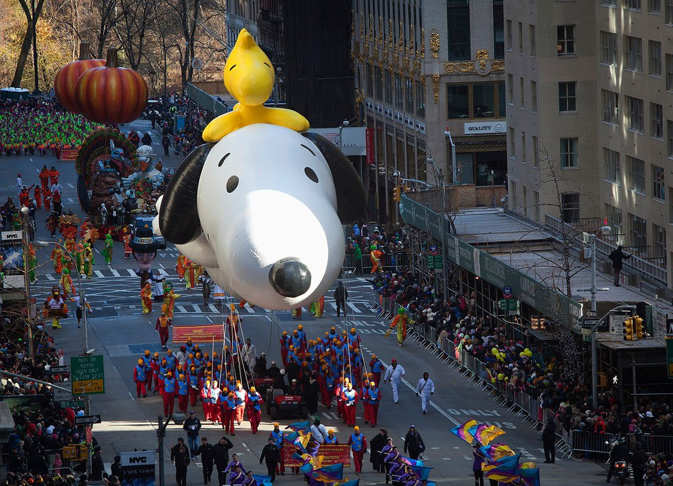 Snoopy float in the Macy's Thanksgiving Day Parade