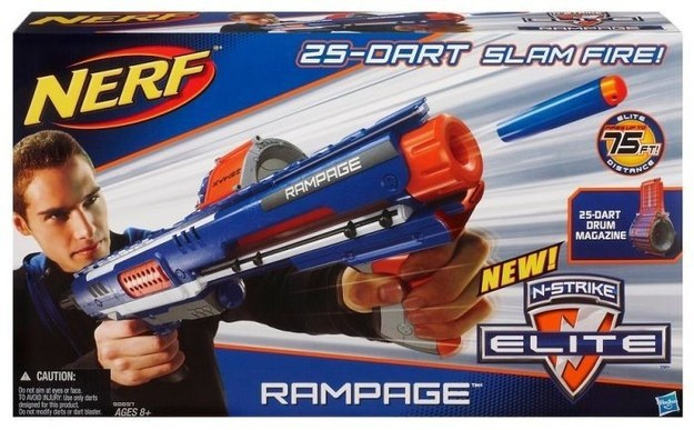 "An ad for the Nerf ""Rampage"" gun features a teenage boy firing the blaster  at a target off of the box."