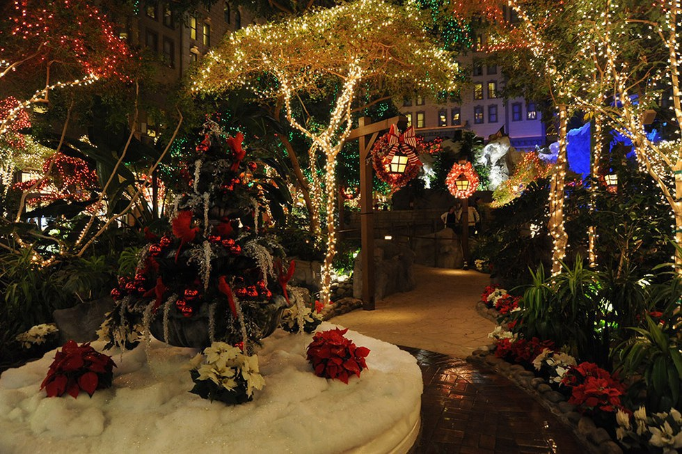 every year sams town hotel and casino decks out mystic falls park for christmas additionally their laser light show will be holiday themed its a one
