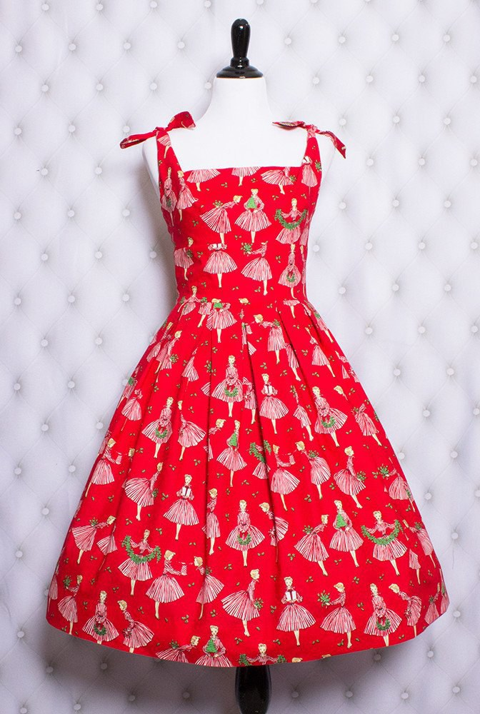 Look Like You Stepped Right Out Of An Actual Vintage Christmas Card In This Frock Depictingwell Girls Wearing Frocks