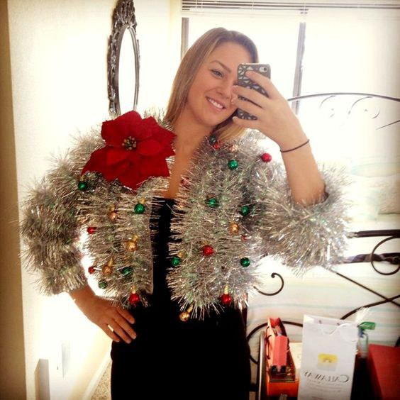 the ugly christmas sweater made of tinsel