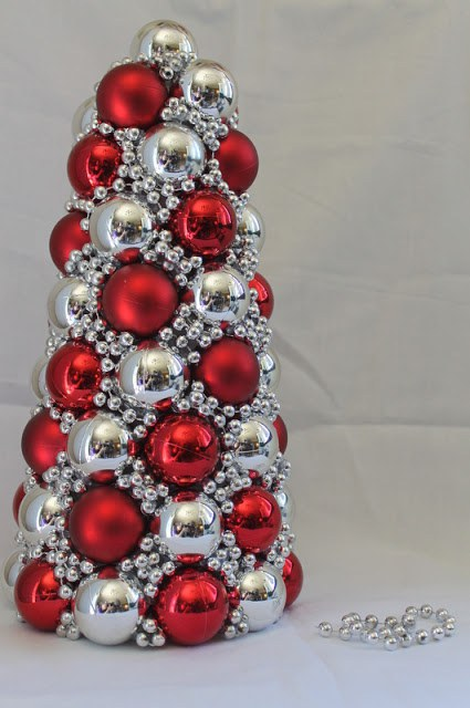 you would never guess that there is a styrofoam cone underneath all of these beautiful ornaments and beads christmas ornaments are great for inexpensive - College Christmas Decorations