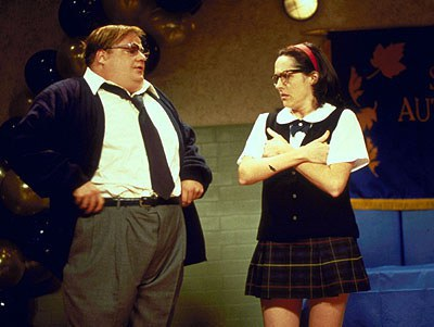 this character was so popular on snl she got her own movie superstar channel mary katherines catholic school girl look with a plaid skirt white polo
