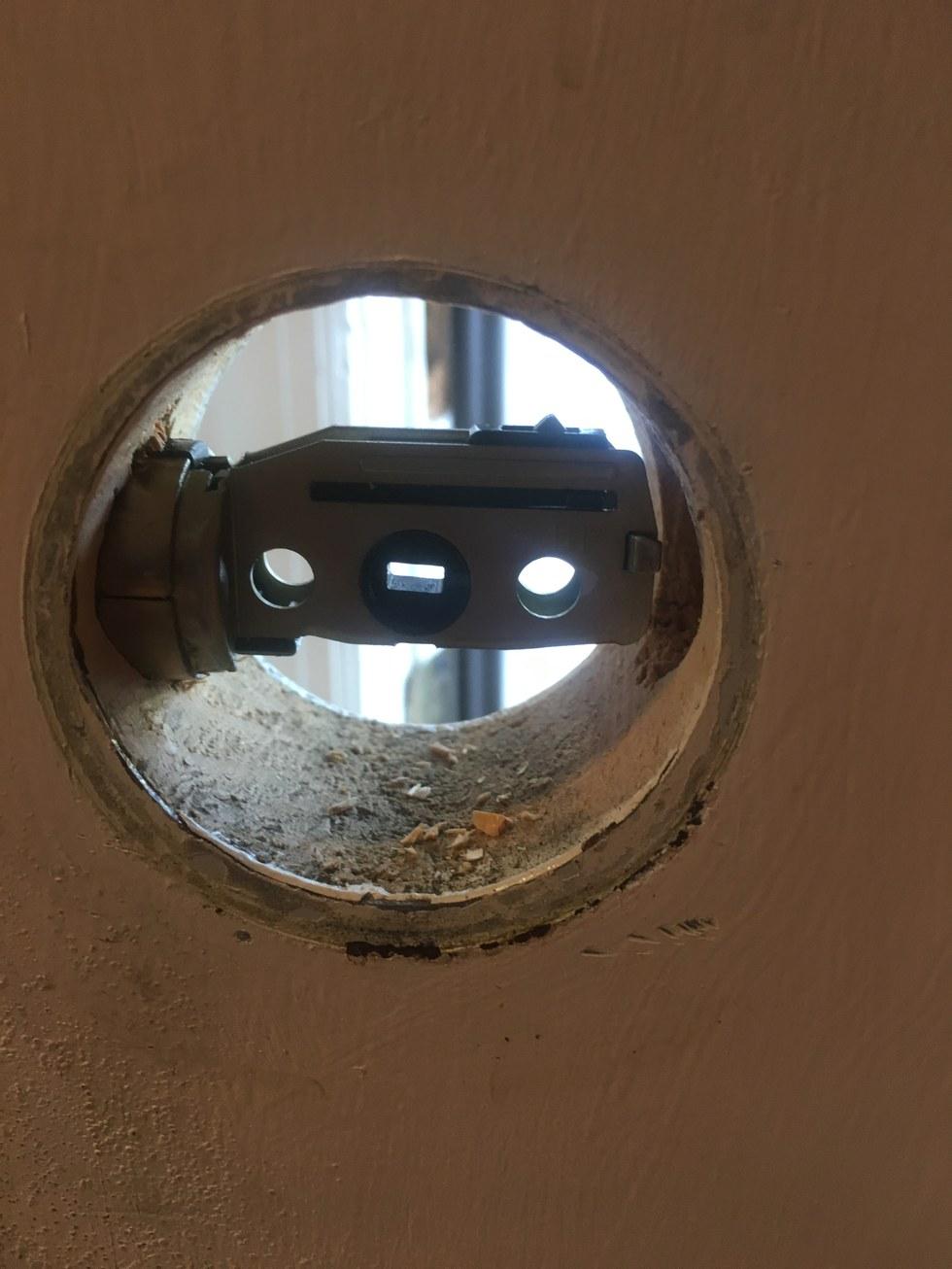 Insert door hardware and adjust Link.