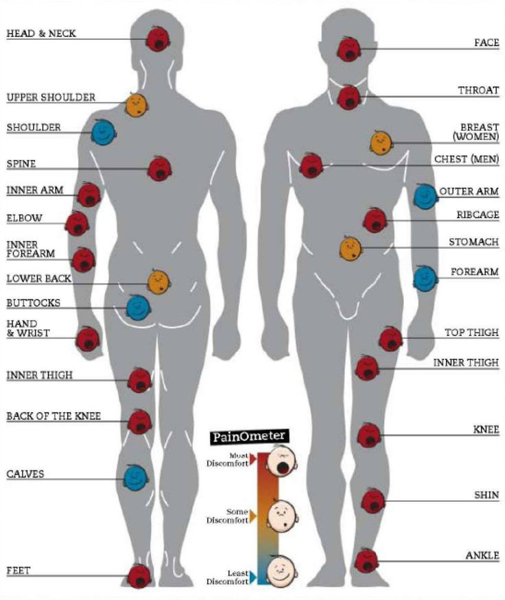 Tattoo pain charts ccuart Image collections