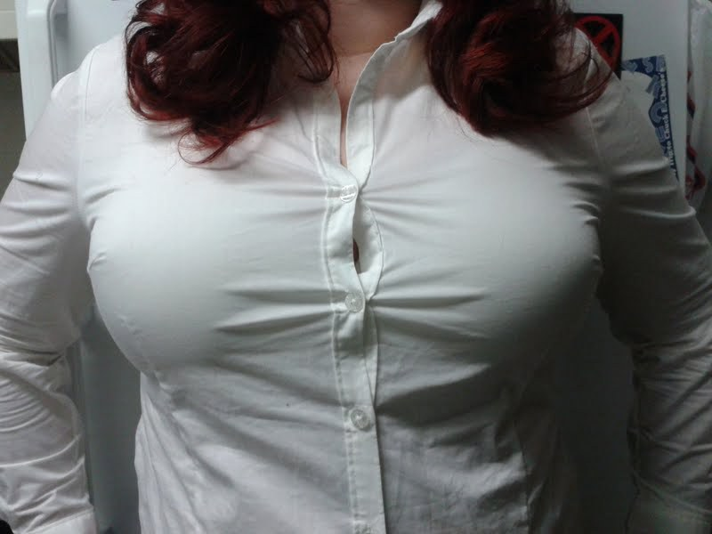 Big tits button shirt