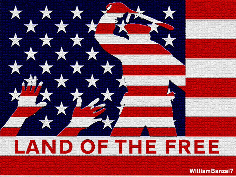 home of the free and land of America land of the free, home of the brave or that's what they say anyway what about the people trapped held captive in our freedom whites are free.