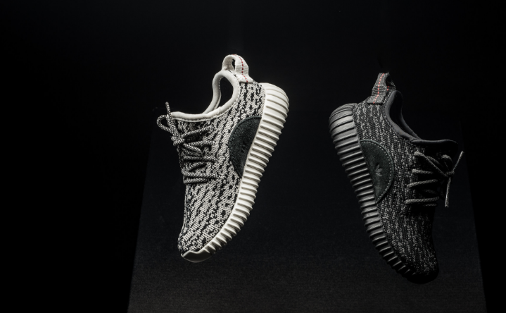 dadfdd6be -Baby Yeezy Boost 350 in Turtle Dove (left) and Pirate Black (right)-