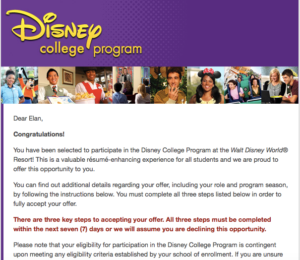 Disney Recruiting Will Send You An Email Saying Congratulations, And A Link  To Accept Your Offer. College Program Prospects Have Seven Days To Accept  Their ...  Disney College Program Resume