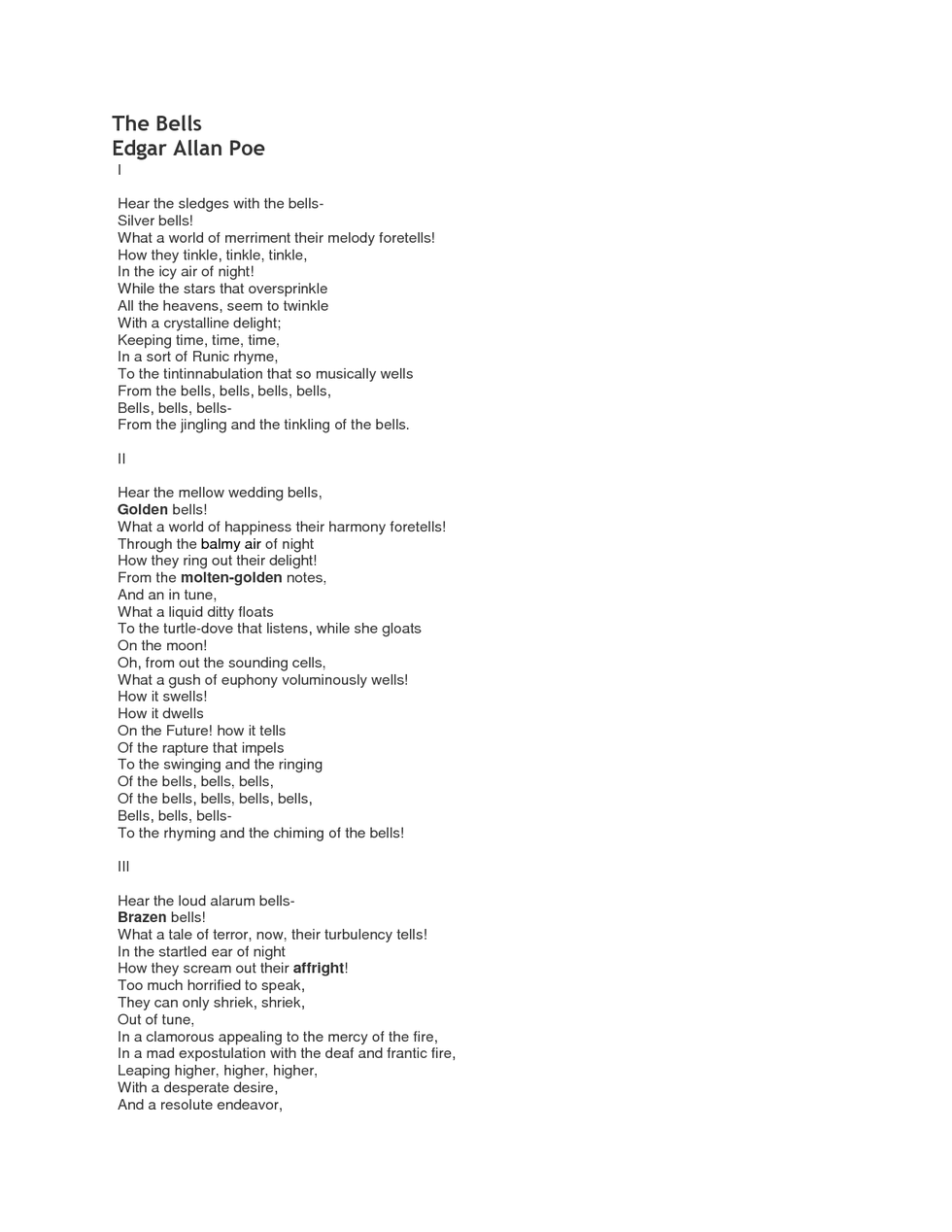An Analysis Of The Poem The Bells By Edgar Allan Poe