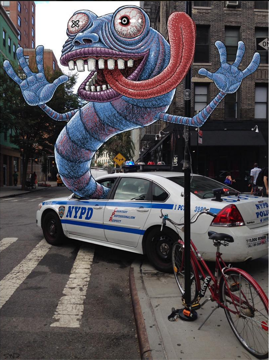 Ben Rubins NYC IPad Creatures Are Taking Instagram By Storm - Artist wife doodles husbands car