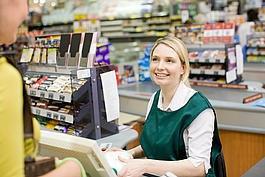 work of cashier in supermarket