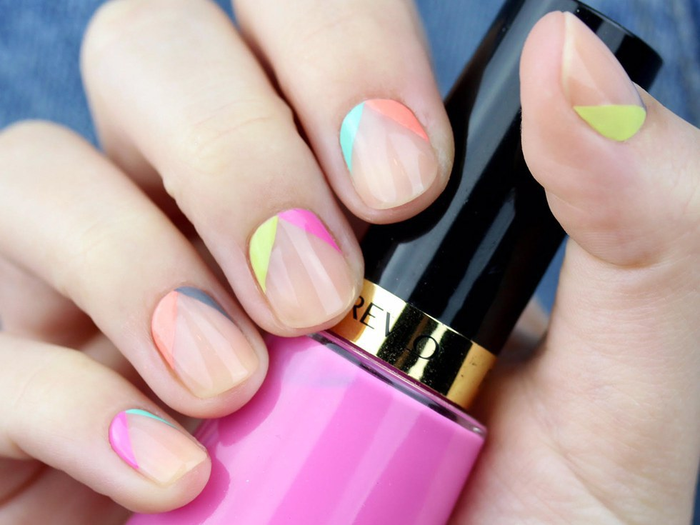 Whether In The Form Of A French Nail Or Fun Geometric Shape Over Clear Coat This Trend Is And Super Easy It Leaves Room For Your Creativity On How