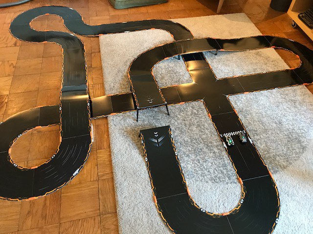 Our track, built with extra pieces from the original Anki Overdrive kit.